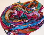Recycled Sari Silk Ribbon Yarn Blue Green Purple multi color, 65 yards,  3.5 oz / 100 grams