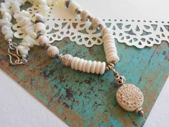 Ivory White Silver Beaded White Turquoise Carved Cinnabar Sterling Mother-of-Pearl Pyrite Bone Gem Necklace