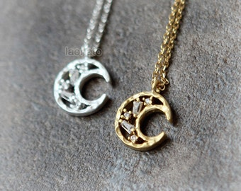 Tapered Baguette CZ Moon Necklace / choose your color / gold and silver
