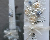 Wedding unity candle set, hand decorated with ivory ribbon roses & bows, crystals and pearls, with a hint of silver, Unity ceremony set