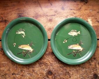 Pair of Vintage Green Decoupaged Serving Trays - Retro Fish Motif