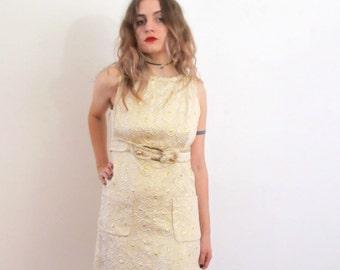 60's Vintage Mod Metallic Brocade Mini Dress small/medium