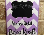 Custom Baby Name Choose Color Chevron Chalkboard Countdown Calendar (Made to Order)