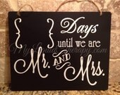 "Wedding Countdown 8""x10"" Wedding Mr and Mrs Hanging Chalkboard Countdown (Made to Order)"
