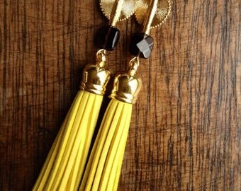 Yellow - Aflé Bijoux Long Suede Tassels and Smokey Quartz Earrings