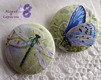 2 fabric buttons, butterfly and dragonfly