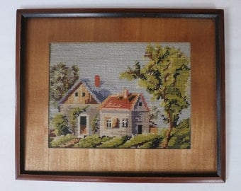 Vintage Needlepoint Cottage Framed