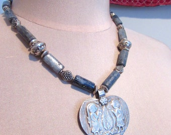 Ethnic Tribal Old Silver Heart Amulet and Kyanite Statement Necklace