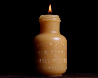 Beeswax Candle - New York Mustard - by Pollen Arts - Lg.