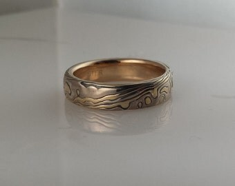 14k White Gold 18k Yellow Gold  with Sterling  Random Etched Mokume Gane mens ring