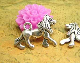 20 pcs Antique Silver Lion Charms Double Sided 20x14mm CH1955