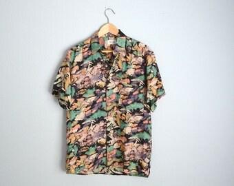 Vintage 90s Silk Crazy Wild Pastel Fresh Prince Geometric Print Shirt // mens small // womens oversize medium