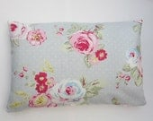 Oblong Cushion Cover, shabby chic, Lumbar Pillow Cover, Grey and Pink Rose Pillow Cover, Bolster Cover 12 x 18, 12 x 20, 12 x 22, 12 x 24