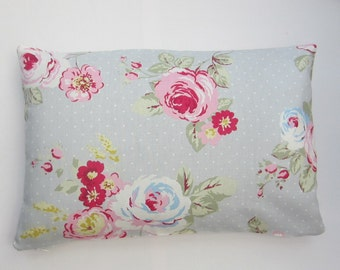 Oblong Cushion Cover, cottage chic, Lumbar Pillow Cover, Grey and Pink Rose Pillow Cover, Bolster Cover 12 x 18, 12 x 20, 12 x 22, 12 x 24