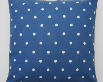 Dotty Cushion Cover, Blue Pillow cover, Polka Dot Pillow Cover,  Blue Pillow Sham, Blue Polka Dot, Size Options 14 up to 24 inch