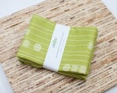 Large ORGANIC Cloth Napkins - Set of 4 - (N2766) - Green Modern Reusable Fabric Napkins