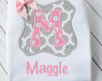 Girl's Gray and Pink Monogrammed Shirt