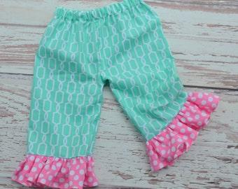 Girls Mint and Pink Polka Dot Ruffle Pants/Capris.   Sizes 3 mths - Size 6