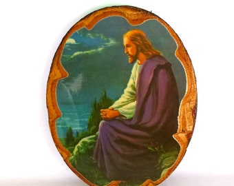 JESUS PRAYING Vintage Art/ Decoupage on Wood