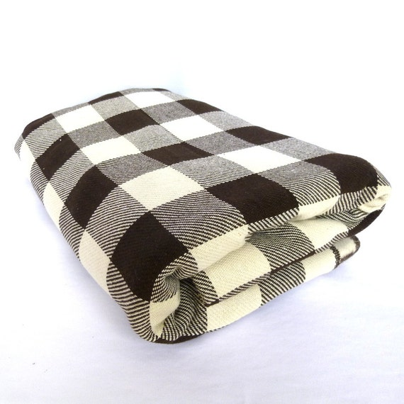 Vintage Wool Large Espresso BUFFALO PLAID YARDAGE