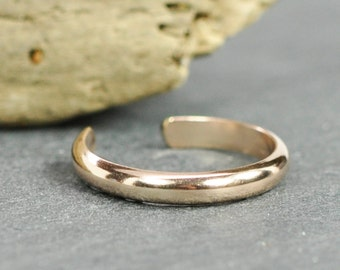 Rose Gold Toe Ring, 2.5mm 14K Rose Gold fill Half Round Adjustable Toe Ring, Kristin Noel Designs