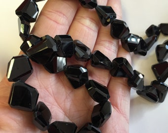 Black Spinel Faceted Nuggets-12x12mm