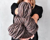 Super Bulky Grey Gray Yarn Thick Handspun Chunky Big Soft Natural Alpaca Wool Yarn knitting supplies crochet supplies