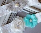 Wedding Garter Bridal Garter TEAL BLUE Garter Set Lace Garter Ivory Rhinestone Crystal Center Garter Beach Wedding GR113LX