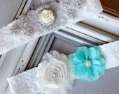 Wedding Garter Bridal Garter TEAL BLUE Garter Set Lace Garter Ivory Rhinestone Crystal Center Garter Beach Wedding GR110LX