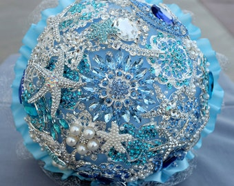 SALE Ready To Ship 10 Inch Vintage Bridal Rhinestone Brooch Bouquet Teal Blue Aqua Blue Starfish Beach Wedding BB057LX