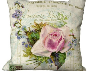 Pink Rose & Lavender Blossom Posy on a French Invoice Choice of 14x14 16x16 18x18 20x20 22x22 24x24 26x26 inch Pillow Cover