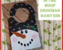 In The Hoop Snowman Baby Bib Embroidery Machine Design for 8x10 Hoop