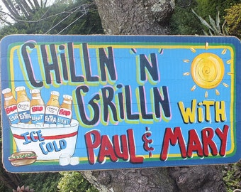 CHILLIN' & GRILLIN' -  Tropical Welcome Paradise Pool Patio Beach House Hot Tub Tiki Bar Hut Parrothead Handmade Wood Sign Plaque
