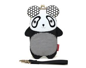 Big round panda smartphone kisslock sleeve