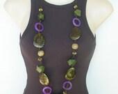 Purple Semi Precious Gemstone, Wooden Beads Necklace