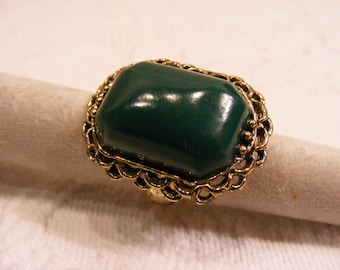 Vintage Adjustable Big Ring, Green Stone Ring, Statement Ring
