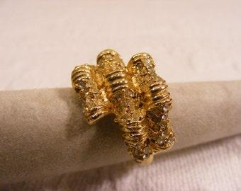 Vintage Adjustable Brilliant Gold Tone and Rhinestone Statement Ring,