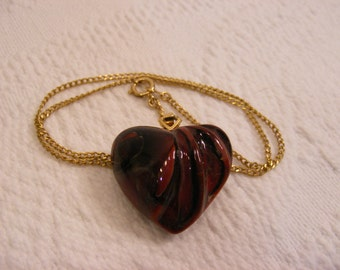 Art Glass, Puffy Marble Heart Necklace, Valentines Day Necklace, Sweetheart