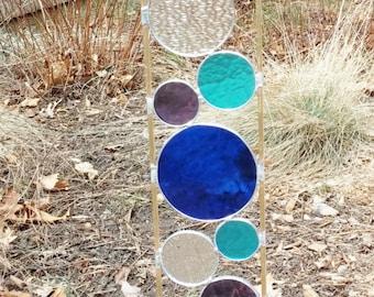 Stained glass garden art stake blue purple aqua outdoor yard decoration modern garden art