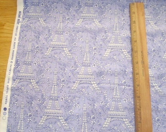 Eiffel Tower on Violet cotton quilting fabric by Michael Miller