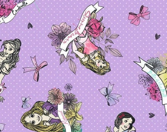 Disney Every Girl Is A Princess Character Sketch Toss on Purple Cotton Fabric by Springs Creative