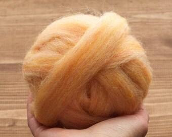 Apricot Wool Roving for Needle Felting, Wet Felting, Spinning, Light Orange, Pastel, Peach, Skin Tone, Fiber Art Supplies, DIY Project