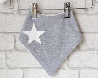 BANDANA baby bib : soft grey marl cotton jersey, hand printed white star organic bamboo, cotton jersey, baby kerchief bib