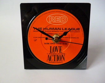 Desk Clock HUMAN LEAGUE 1980s Music Vinyl Record Clock Love Action