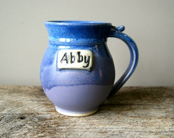 MADE TO ORDER.....One 18 oz Personalized Mug in lavender and blue by Hope Fregerio RiverStone Pottery