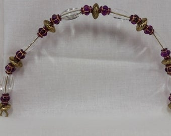 Beaded Purse Handle Purple and Gold Acrylic