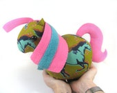 Missy Mustang: Fluffy Bottom Pony--Green, neon blue and pink kawaii soft sculpture art plush stuffed animal horse/pony