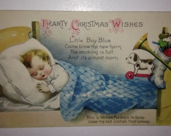 Hearty Christmas Wishes Little Boy Blue