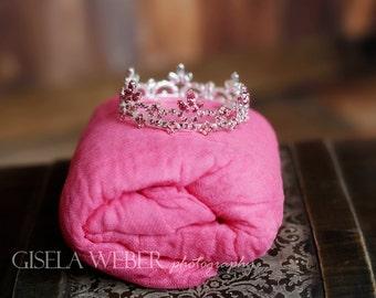 Newborn Photo Prop, Newborn Crown, Silver Newborn CROWN, Pink Newborn Crown, Pink Cheesecloth, Photo Prop, Pink Baby Halo, Girl Photo Prop