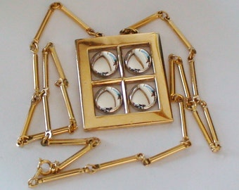 Vintage Artistry Geometric Designed Pendant, Goldtone with Silvertone Circular Insets